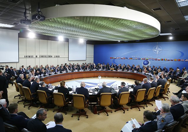 A general view of the table for a meeting of the NATO-Russia Council at the level of defense ministers at NATO headquarters in Brussels. File photo