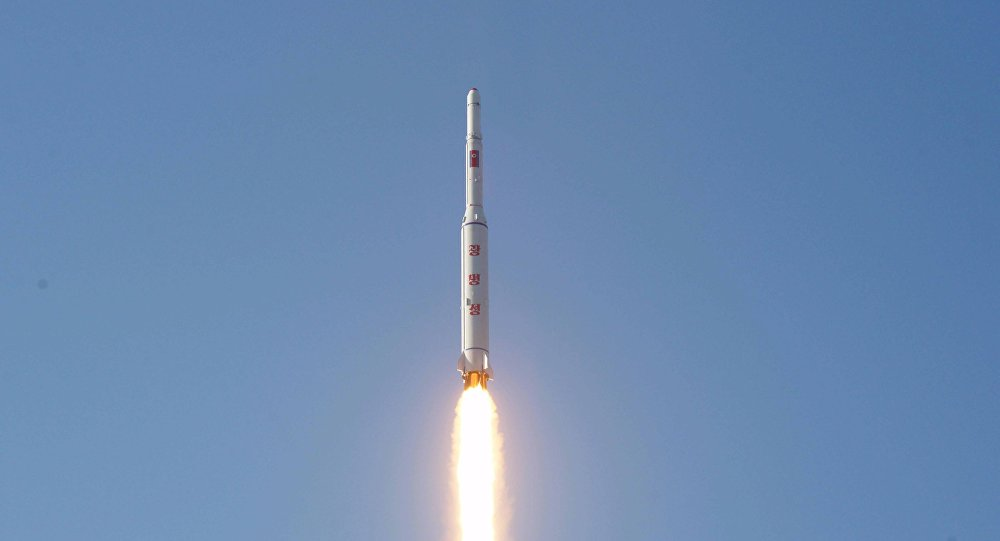 A North Korean long-range rocket is launched into the air at the Sohae rocket launch site in this undated photo released by North Korea's Korean Central News Agency (KCNA) in Pyongyang February 7, 2016.