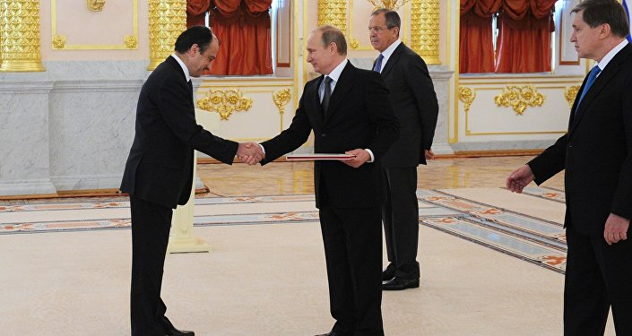 November 19, 2014. From left: Turkish Ambassador Umit Yardim, Russian President Vladimir Putin, Foreign Minister Sergey Lavrov and Presidential Aide Yury Ushakov during the ceremony of presenting credentials from new foreign ambassadors in the Grand Kremlin Palace's Alexander Hall