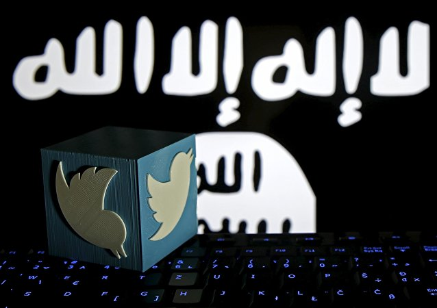 A 3D-printed Twitter logo is seen on a keyboard in front of a computer screen on which a Daesh flag is displayed, in this picture illustration taken in Zenica, Bosnia and Herzegovina, February 6, 2016