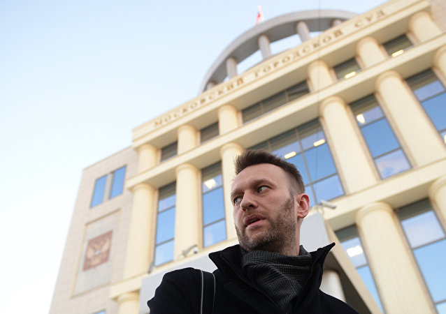 Navalny is seen near the Moscow City Court building