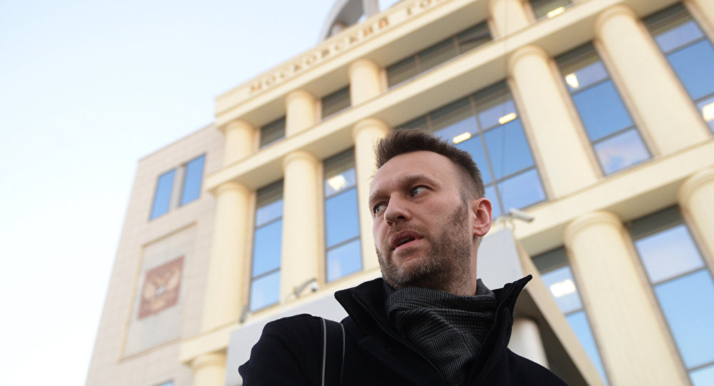 Lawyer and politician Alexei Navalny is seen near the Moscow City Court building