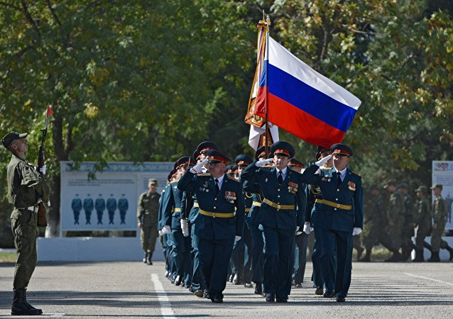 Russian servicemen seen during the events on the occasion of the 70th anniversary of the 201st Russian military base deployed in Dushanbe, Tajikistan