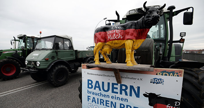This picture taken on November 13, 2015 shows a placard on a tractor reading Farmers need a fair price - 50 cents per liter milk during a demonstration on the European bridge, between Strasbourg and Kehl, as part of a claim for fair milk prices, lower dairy quotas and a better hold on production