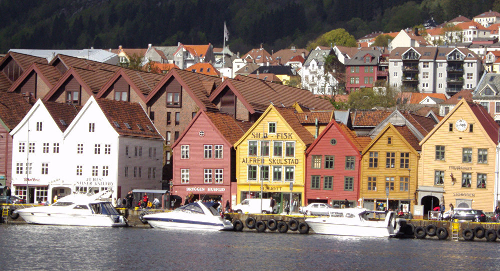 A site of the old Hanseatic League houses in Bergen, Norway.