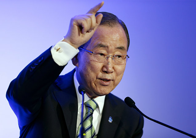 United Nations secretary general Ban Ki-moon delivers a speech during the Arctic/Svalbard presentation at the COP21 UN climate change conference in Le Bourget, northeast of Paris, on December 5, 2015