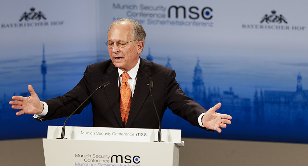 Munich Security Conference Chairman Wolfgang Ischinger gestures during his opening speech at the 51. Security Conference in Munich, Germany, Friday, Feb. 6, 2015
