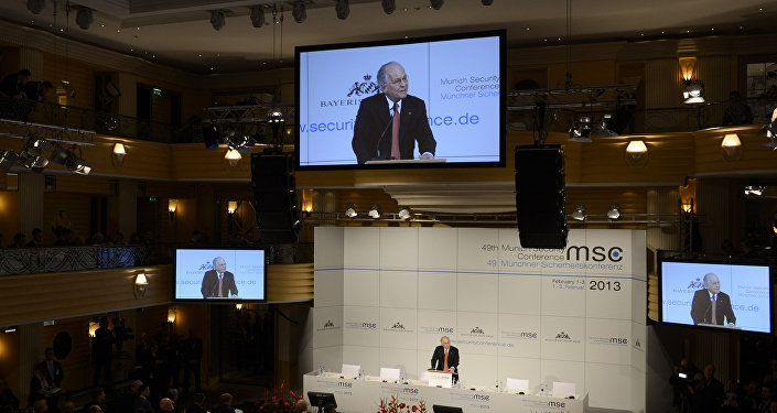 Wolfgang Ischinger, organizer of the 49th Munich Security Conference, opens the Conference on February 1, 2013 in Munich, southern Germany, as world leaders, ministers and top military gather for talks with the spotlight on Syria, Mali and Iran