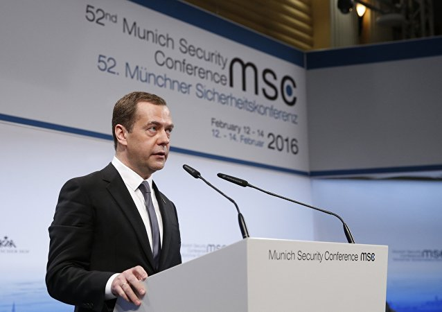 February 13, 2016. Russian Prime Minister Dmitry Medvedev speaks at the Munich Security Conference
