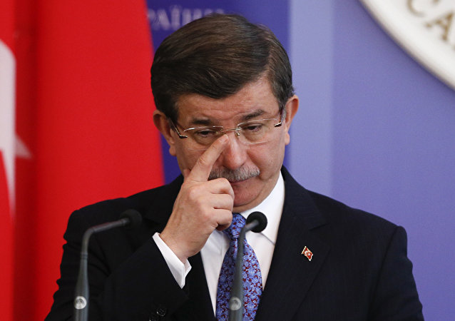 Turkish Prime Minister Ahmet Davutoglu attends a news conference after a meeting with his Ukrainian counterpart Arseny Yatseniuk in Kiev, Ukraine, February 15, 2016.