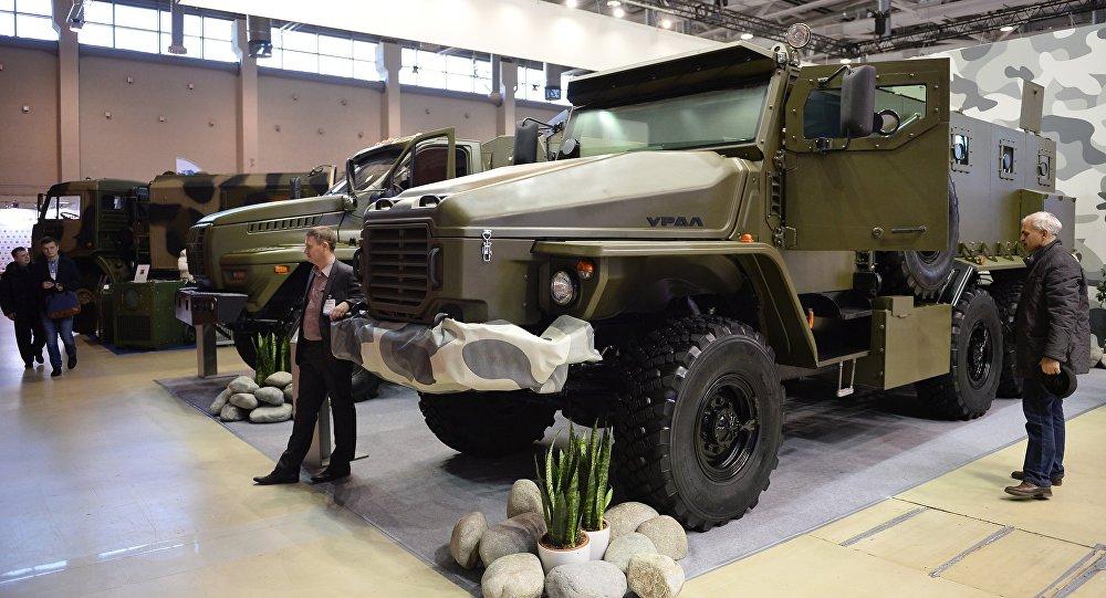 Ural-VV armored car displayed at Interpolitex 2015.