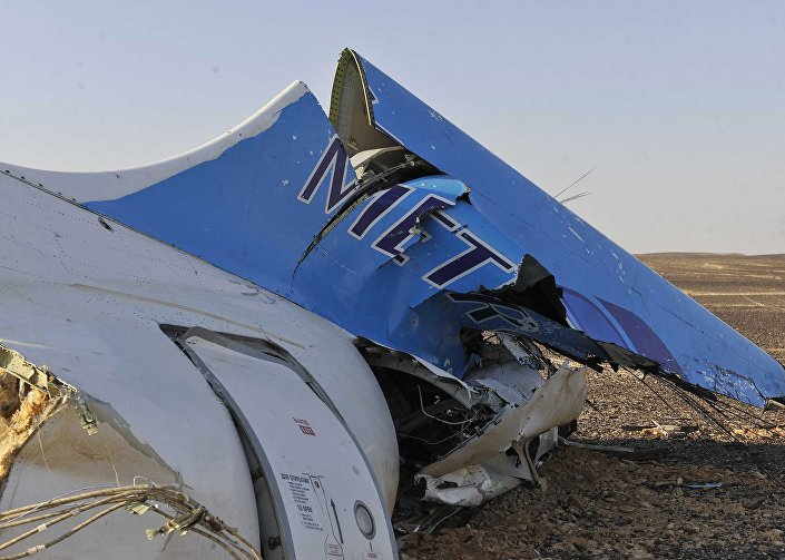 This photo shows the tail of a Metrojet plane that crashed in Hassana, Egypt on Saturday, October 31, 2015.