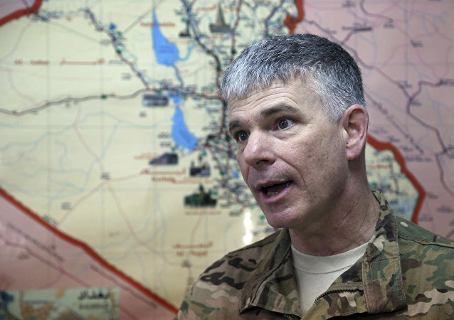 Baghdad-based spokesman for the US-led coalition in Iraq Col. Steve Warren speaks during an interview with The Associated Press in Baghdad, Iraq.