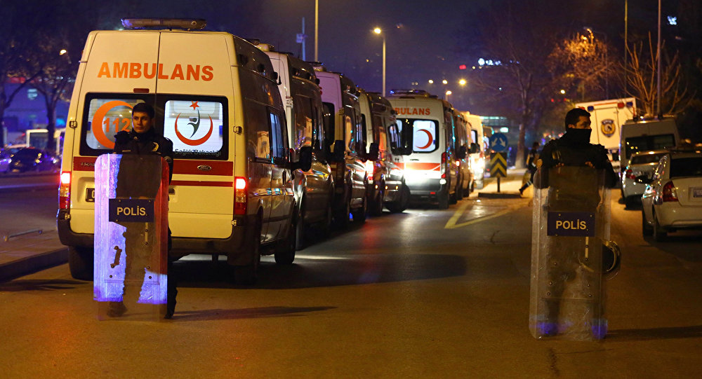 Turkish police secure the site of an explosion after an attack targeted a convoy of military service vehicles in Ankara on February 17, 2016