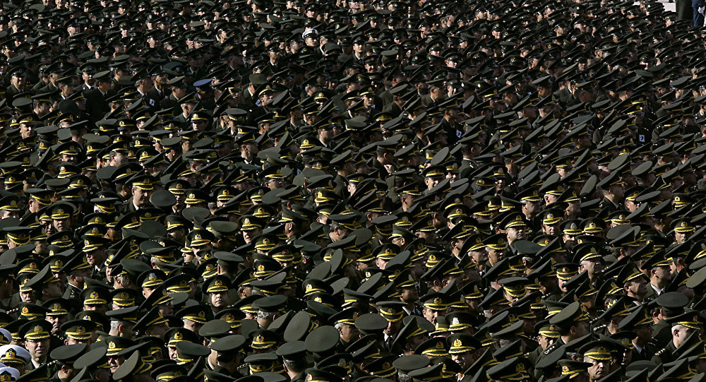 Turkish soldiers parade for modern Turkey's founder Mustafa Kemal Ataturk during a commemoration ceremony in the capital Ankara 10 November 2004 to mark the 66th anniversary of the death of Ataturk