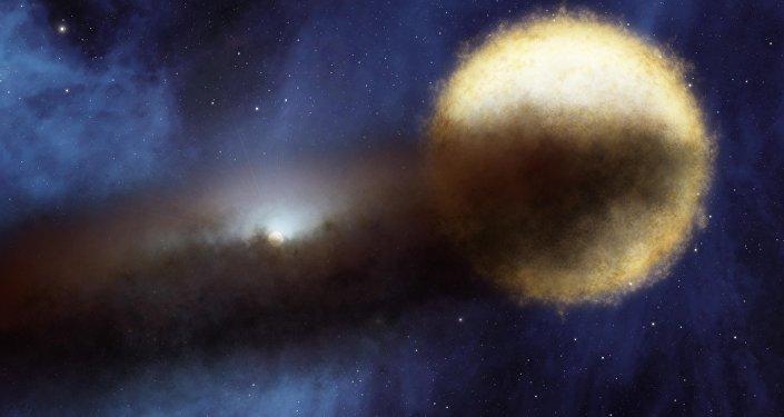 An artist's impression of the Epsilon Aurigae star system