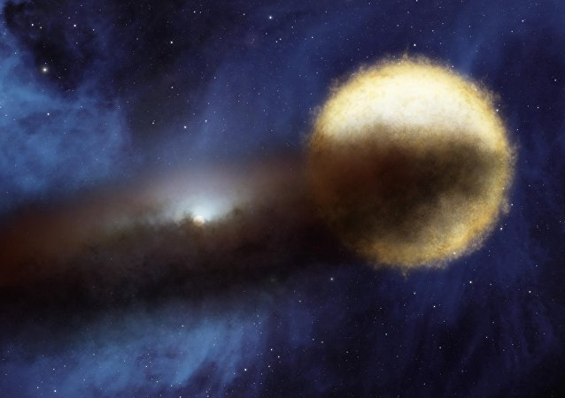 An artist's impression of the Epsilon Aurigae star system