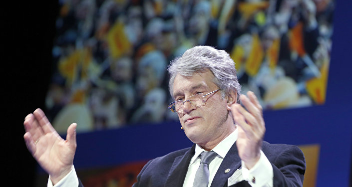 Ukrainian politician Viktor Yushchenko delivers a speech at the Oslo Freedom Forum in Oslo, on May 27, 2015