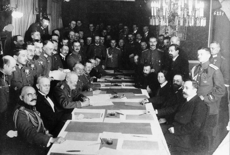 Signing ceremony for the Treaty of Brest-Litovsk, March 3, 1918.