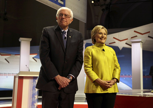 Democratic presidential candidates Sen. Bernie Sanders and Hillary Clinton