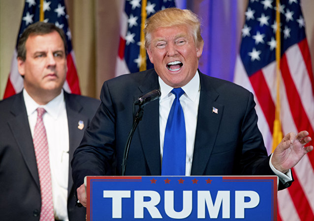 Republican presidential candidate Donald Trump, accompanied by New Jersey Gov. Chris Christie.