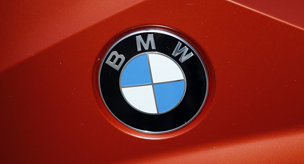 The BMW logo of a motorcycle in a showroom in London, Thursday, March 3, 2016.