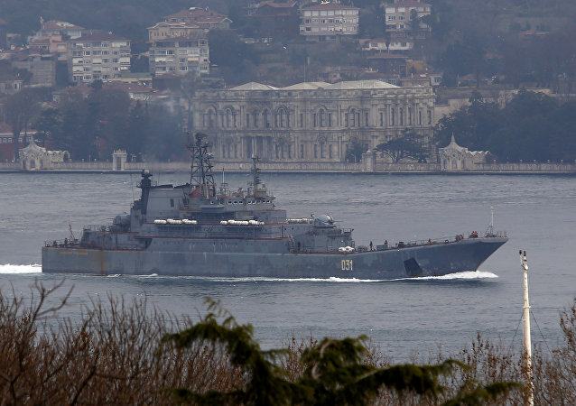 The Russian Navy's landing ship Alexander Otrakovsky sails in the Bosphorus, on its way to the Mediterranean Sea, in Istanbul, Turkey February 18, 2016