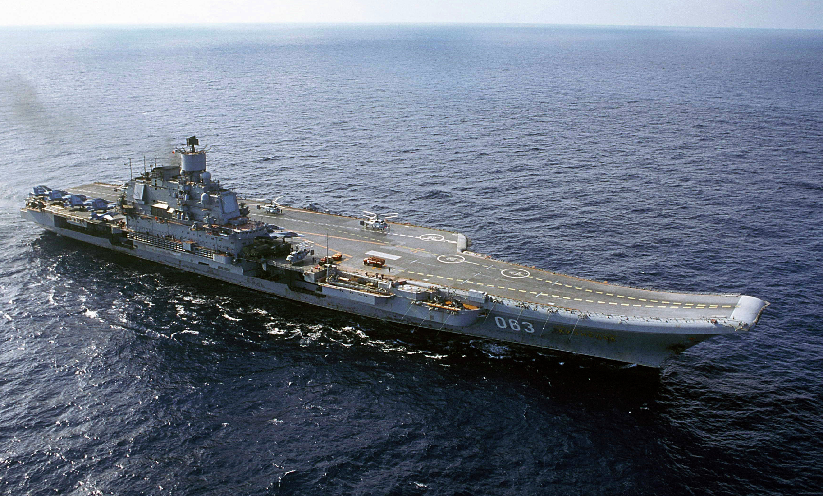 In this file photo from 2004, the Russian Navy's Admiral Kuznetsov aircraft carrier is seen in the Barents Sea, Russia