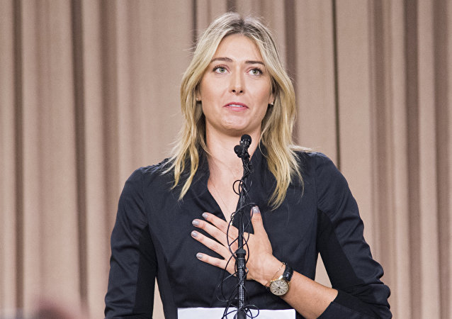 Russian tennis player Maria Sharapova speaks at a press conference in downtown Los Angeles, California, March 7, 2016