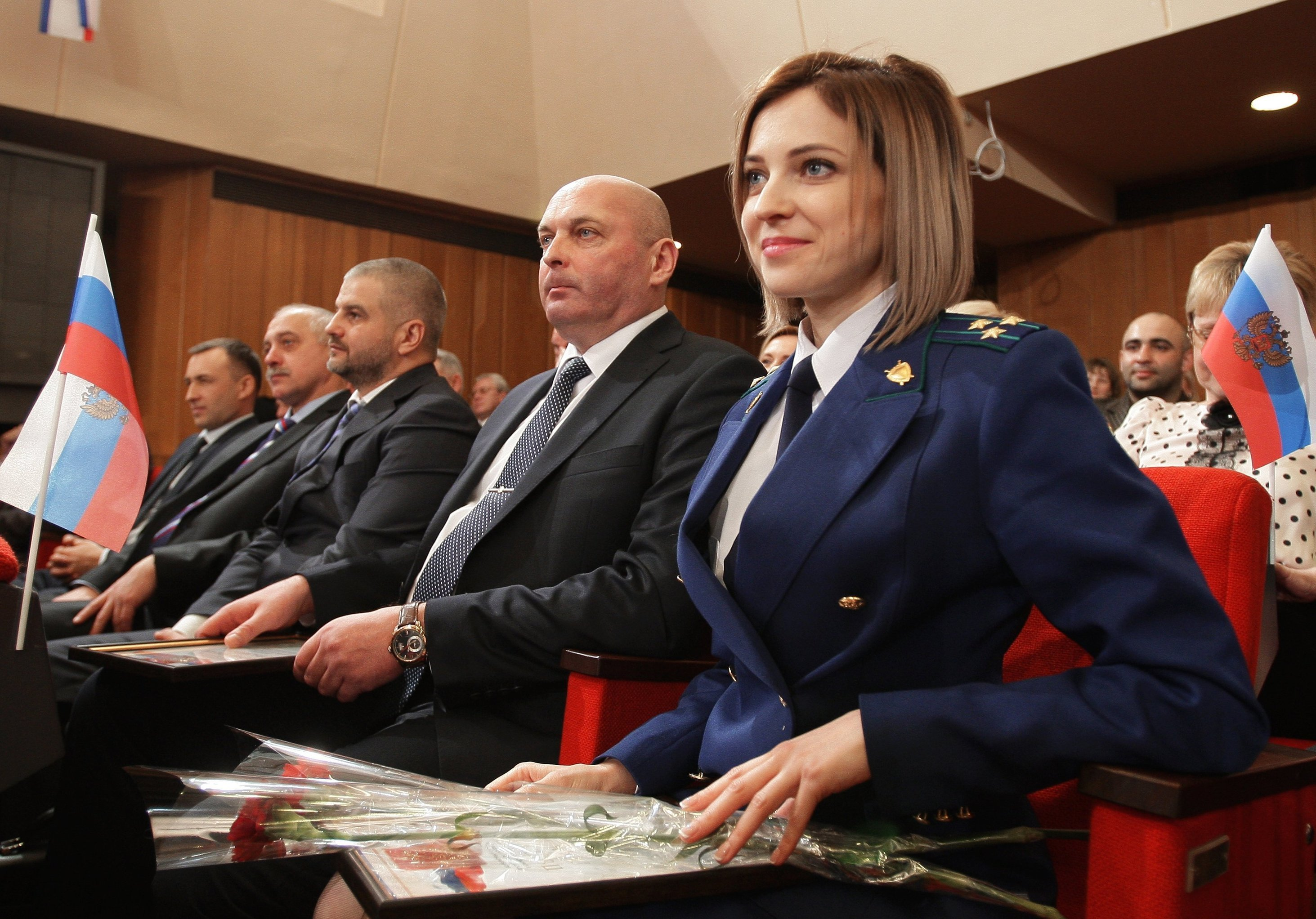 Crimean Prosecutor Natalya Poklonskaya at the meeting of deputies of the State Council of the Republic of Crimea which is dedicated to the one-year anniversary of the Crimean Spring in Simferopol