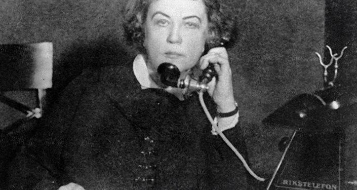 Soviet diplomat Alexandra Kollontai (1872-1952) at a Soviet embassy