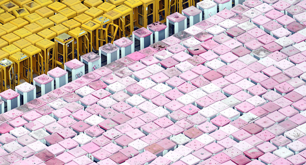 Aerial view shows discarded phone boxes of German telecommunications giant Deutsche Telekom in Michendorf near Berlin. (File)