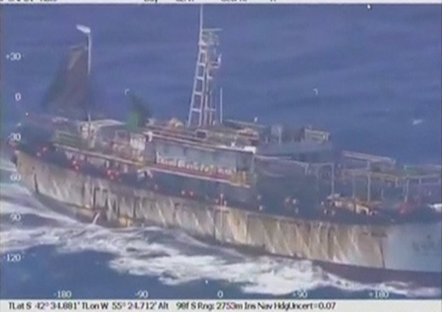 An aerial view of a Chinese flagged fishing vessel, the China Yan Lu Yuan Yu 010, off Argentina's Atlantic coast in this still image taken from video, March 14, 2016