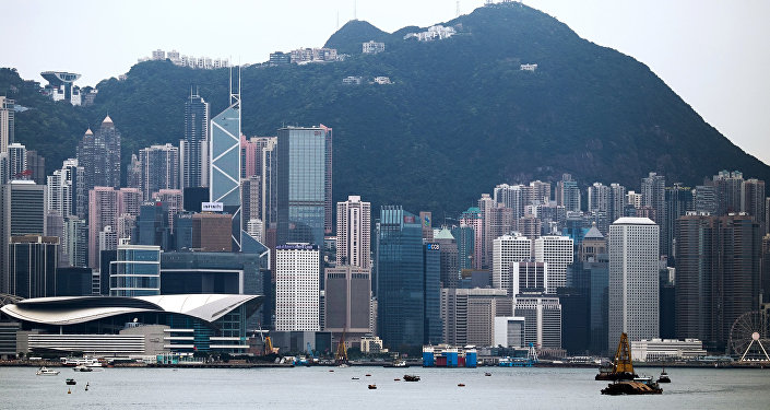 Hong Kong seen from the sea.