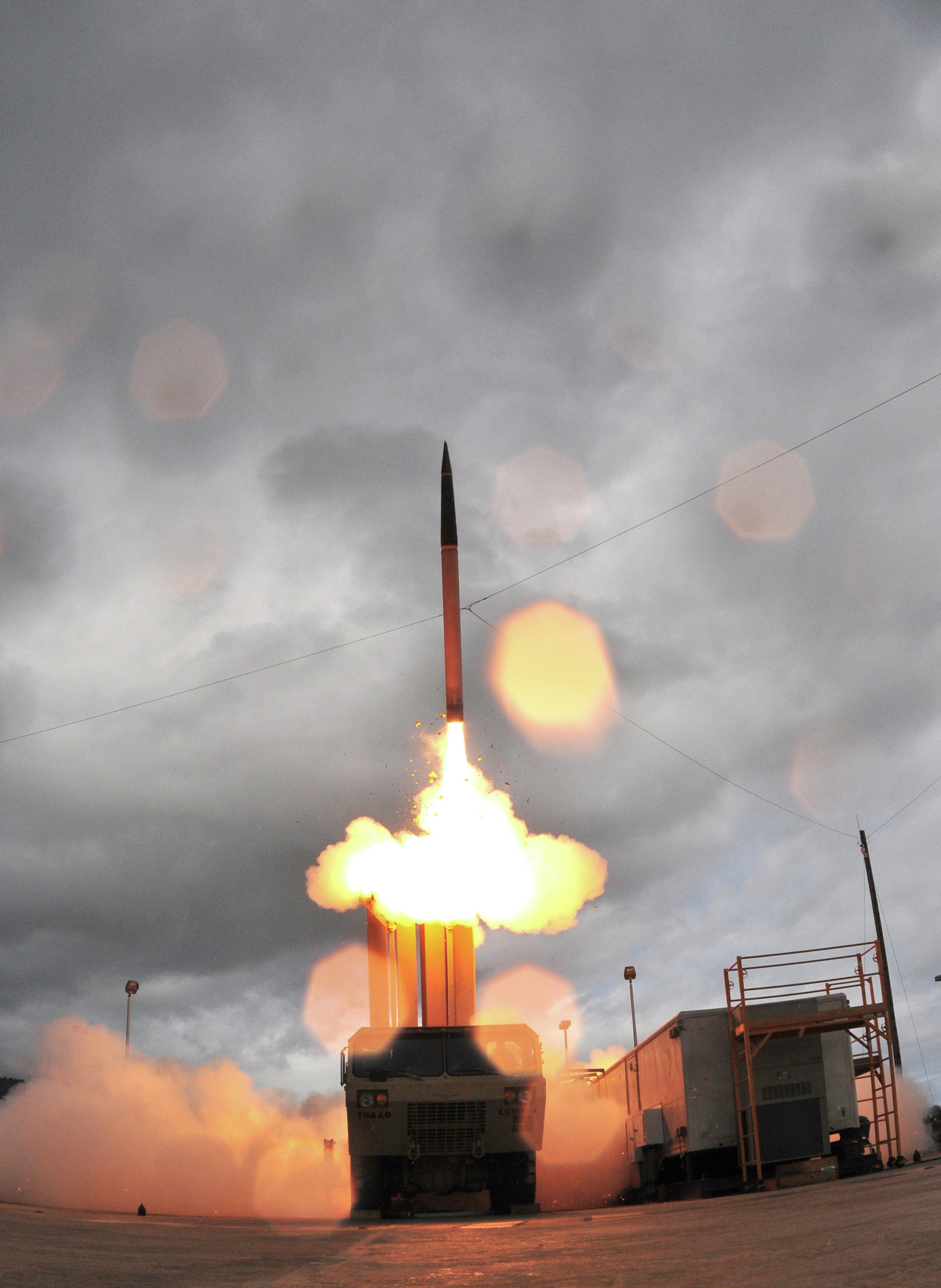 Lockheed Martin shows the Terminal High Altitude Area Defense system, or THAAD missile being launched from a mobile launcher at Kauai's Pacific Missile Range Facility
