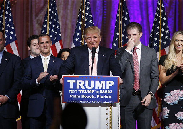 Republican presidential candidate Donald Trump speaks to supporters at his primary election night event at his Mar-a-Lago Club in Palm Beach, Fla., Tuesday, March 15, 2016.