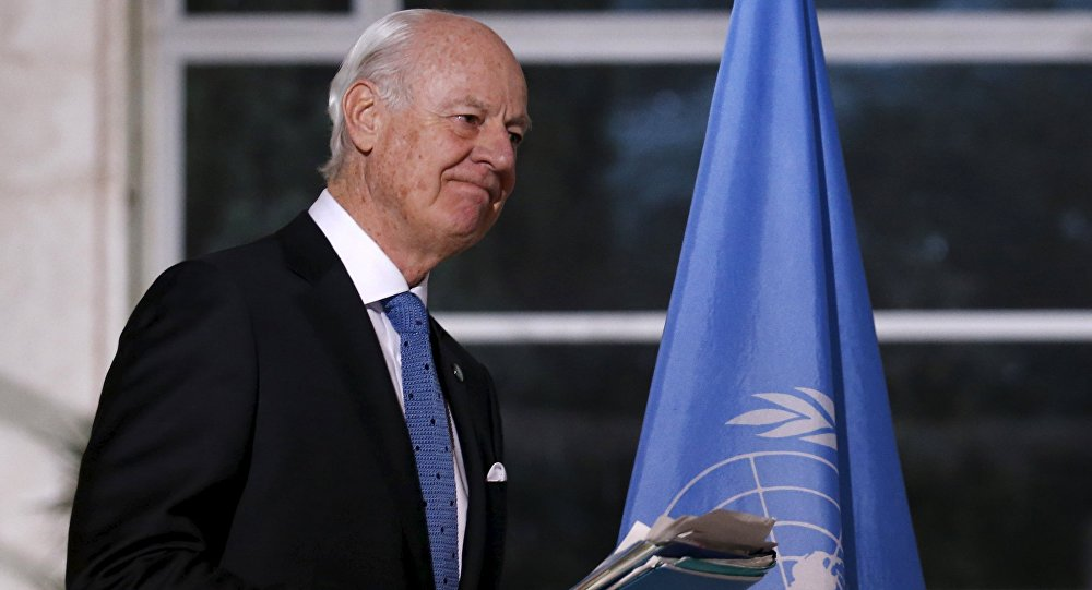 UN mediator for Syria Staffan de Mistura attends a news conference after a meeting with a delegation of the High Negotiations Committee (HNC) during Syria peace talks at the United Nations in Geneva, Switzerland, March 17, 2016.