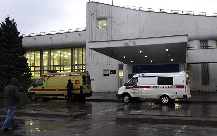 Ambulance cars are parked near the airport building in the city of Rostov-on-Don on March 19, 2016. All sixty-one people on board a flydubai Boeing 737 were killed when their plane crashed and burst into flames as it was landing in Rostov-on-Don, in Southern Russia, on March 19 morning, a local official said.