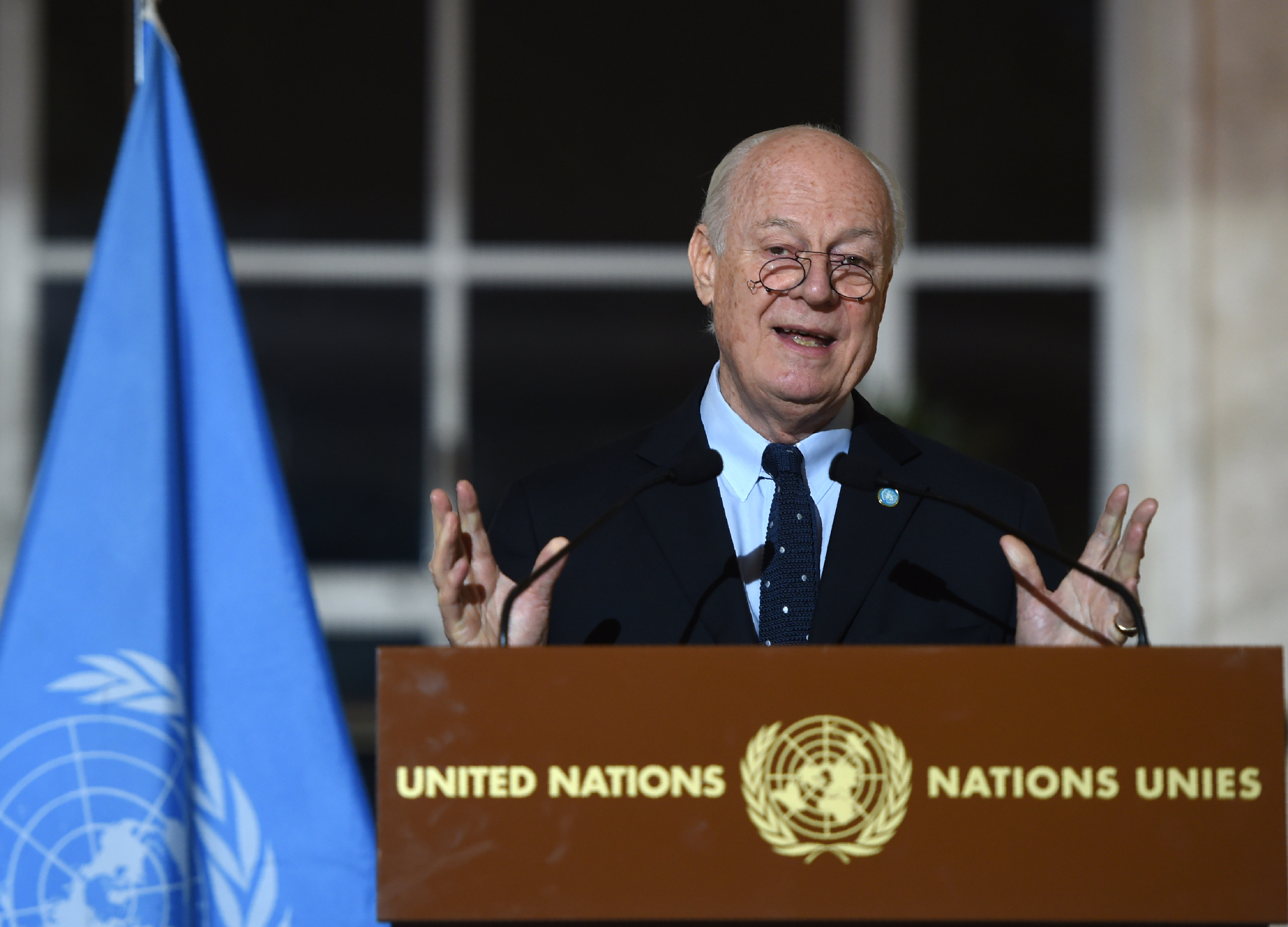 United Nations Syria envoy Staffan de Mistura speaks during a press conference in Geneva on March 15, 2016, on the second round of Syrian peace talks at the UN headquarters