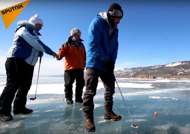 Ice Golf on the World's Largest Freshwater Lake Baikal