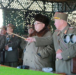North Korean leader Kim Jong Un watches landing and anti-landing exercises being carried out by the Korean People's Army (KPA) at an unknown location, in this undated photo released by North Korea's Korean Central News Agency (KCNA) in Pyongyang on March 20, 2016