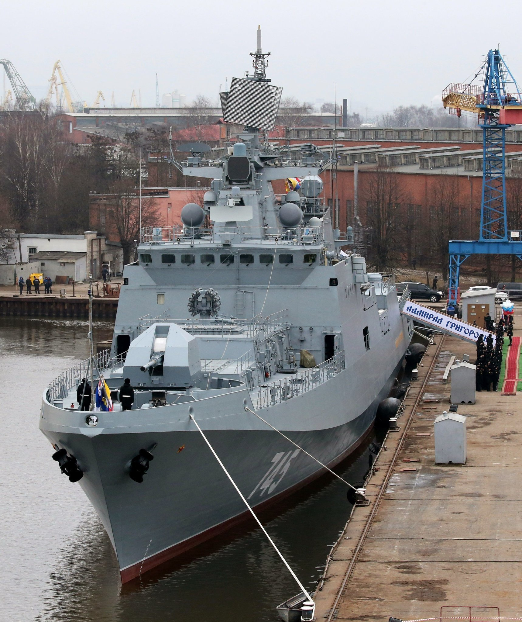 First flag hoisting ceremony on frigate Admiral Grigorovich in Kaliningrad
