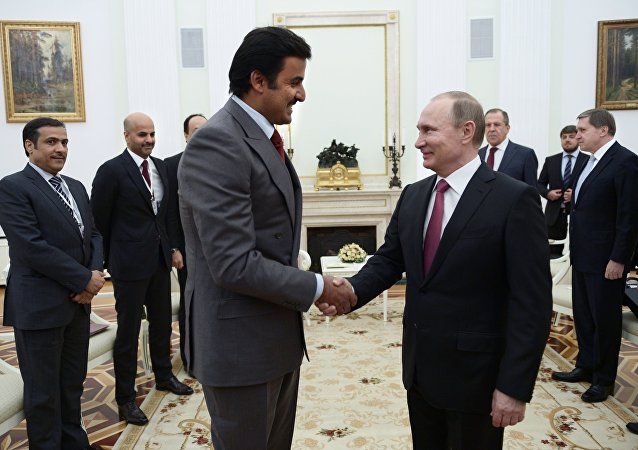 President Vladimir Putin meets with Qatar Emir Tamim bin Hamad Al-Thani. File photo