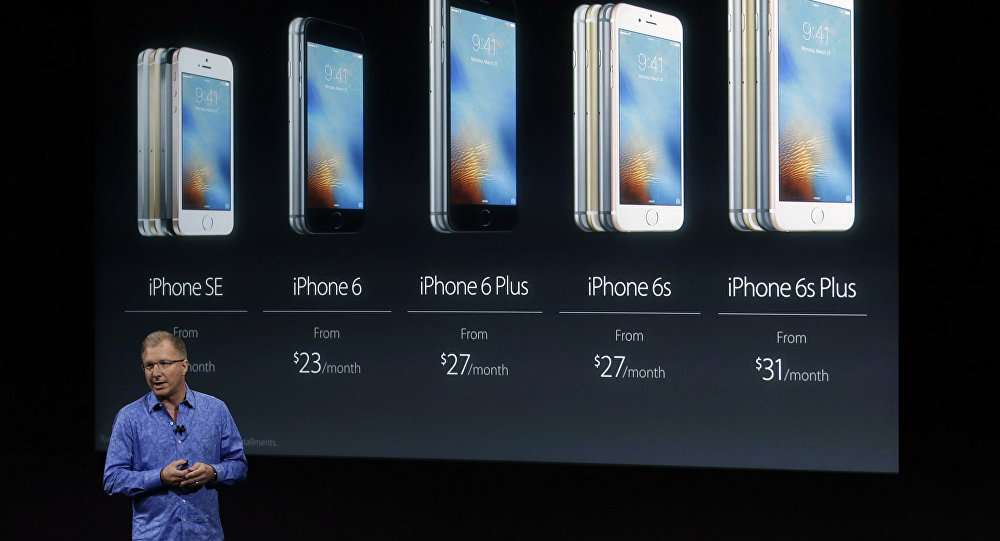 Greg Joswiak, vice president of iOS, iPad and iPhone product marketing, announces the new iPhone SE.
