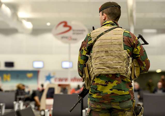 A military police soldier patrols the Brussels Airport in Zaventem, eastern Brussels