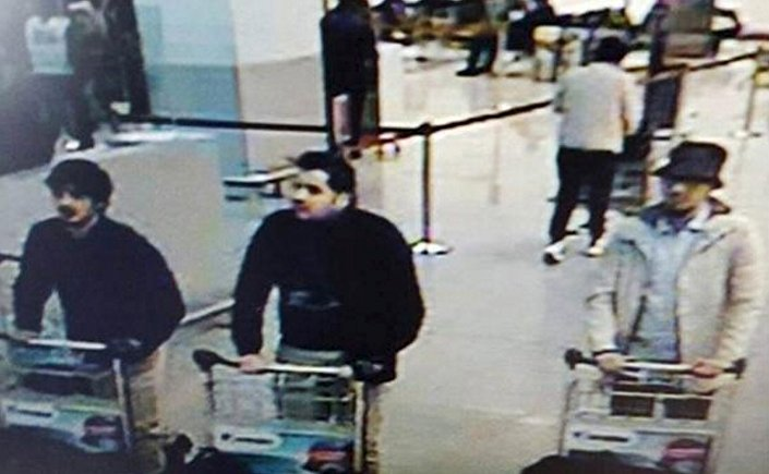 CCTV surveillance image shows three men identified as suspects in the Brussels attacks.