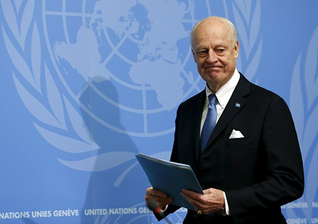 UN mediator for Syria, Staffan de Mistura gives a news conference at the end of the Syria peace talks at the United Nations in Geneva.
