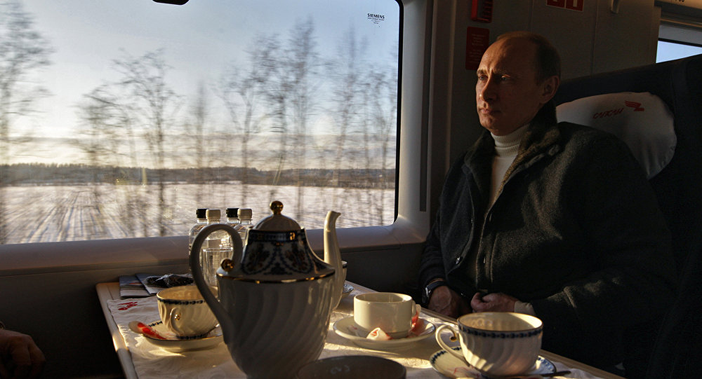 Vladimir Putin taking a trip on the newly launched Sapsan high-speed train linking Moscow and St. Petersburg, December 19, 2009.