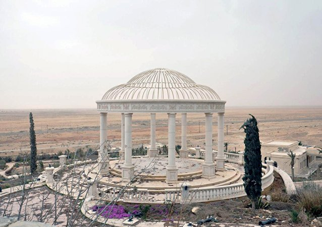 A general view shows part of a palace complex, which has been recaptured by Syrian government forces, on the western edge of Palmyra in this picture provided by SANA on March 24, 2016.