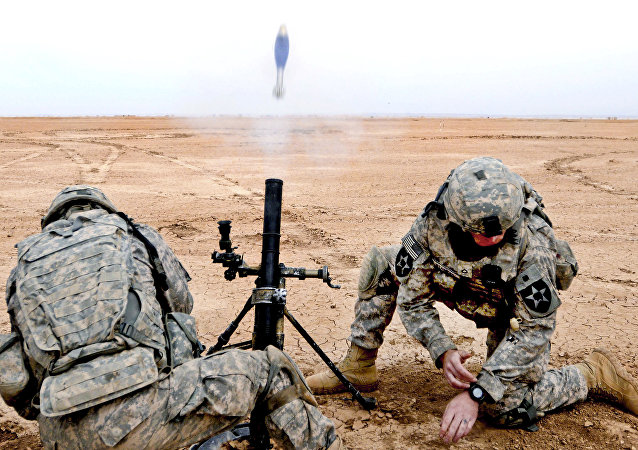 M224A1 mortar firing